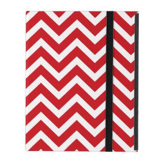 Lipstick Red and White Valentine ZigZag Chevron iPad Folio Case
