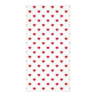 Lipstick Red Candy Polka Dot Hearts On White Photo Card