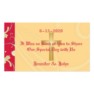 Lipstick Red, Gold, Christian, Wedding Favor Business Cards