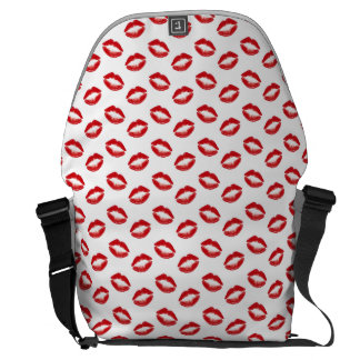 Lipstick Red Kisses Courier Bags