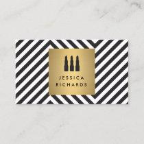 Lipstick Trio Logo on Retro Black/White Pattern II Business Card