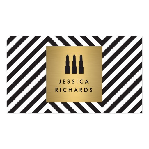 Lipstick Trio Logo on Retro Black/White Pattern II Business Card Templates