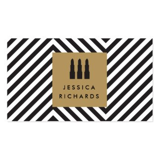 Lipstick Trio Logo with Retro Black/White Pattern Double-Sided Standard Business Cards (Pack Of 100)