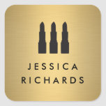 Lipstick Trio on Faux Gold Makeup Artist Stickers