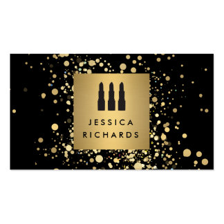 Lipstick Trio with Faux Gold Confetti Dots Makeup Business Card