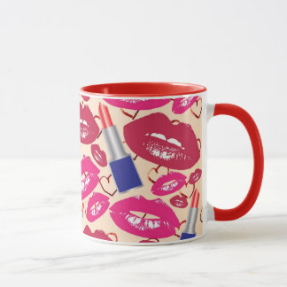 Lipstick Tubes, Red and Hot Pink Lips Mug
