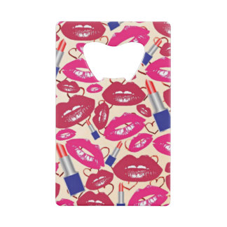 Lipstick Tubes, Red and Hot Pink Lips Wallet Bottle Opener