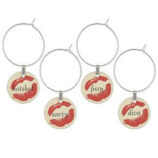 Lipstick Tubes, Red and Hot Pink Lips Wine Glass Charm