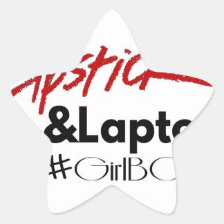 Lipsticks and Laptops Star Sticker
