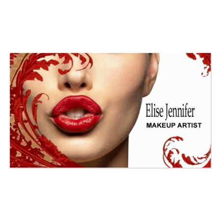 Red Lips and Florals Makeup Artist Business Cards