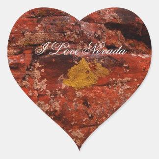 Liquen en el desierto; Recuerdo de Nevada Colcomanias Corazon