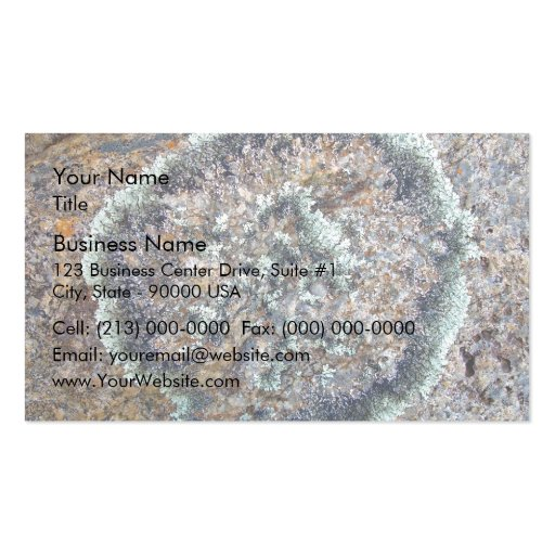 Liquen formado redondo en el granito tarjeta de negocio