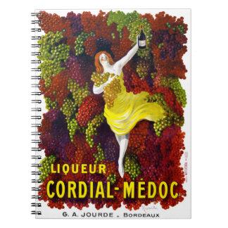 Liquer Cordial-Medoc Vintage Poster Restored Spiral Notebook