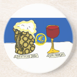 Liquid Asset Options - German beer and French Wine Drink Coaster