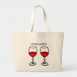 """LIQUID ASSETS"" FUN RED WINE PRINT CANVAS BAGS"