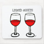 """""""LIQUID ASSETS"""" FUN RED WINE PRINT MOUSE PADS"""