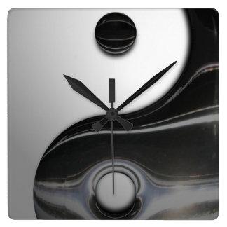 Liquid Black Yin Yang (Customizable) Square Wall Clock