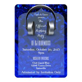Liquid Blue DJ Party Invitations