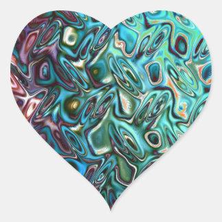 Liquid Blue Gel Heart Sticker