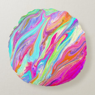 Liquid Color Neon Round Pillow