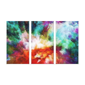 Liquid colors abstract triptych artwork, 3 panels canvas print