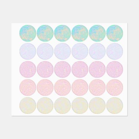 Liquid faux holographic iridescent textures labels