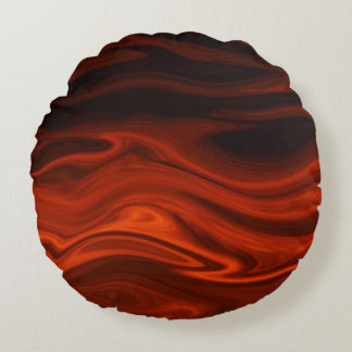 Liquid Fire Round Pillow