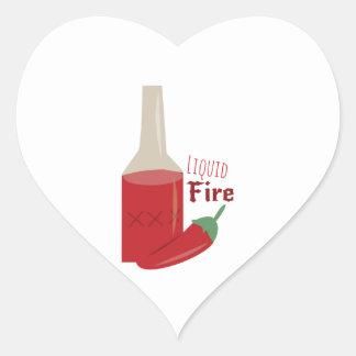 Liquid Fire Heart Sticker