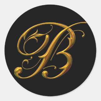 Liquid Gold B monogram Classic Round Sticker