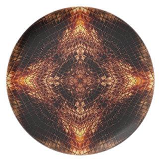 Liquid Gold Fractal Geometry Art Plate