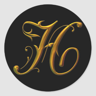 Liquid Gold H monogram Classic Round Sticker