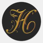 Liquid Gold H monogram Round Sticker
