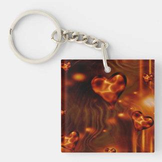 Liquid Gold Hearts Acrylic Key Chain