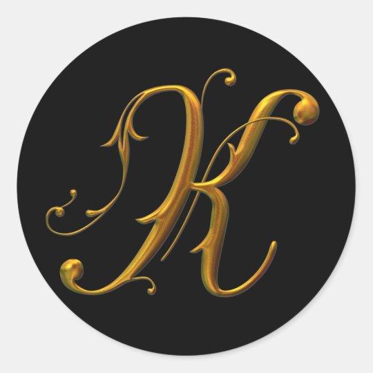 Liquid Gold K monogram Classic Round Sticker