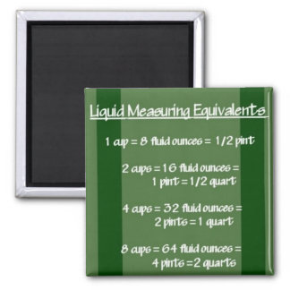 Liquid Measuring Equivalents Green Magnet