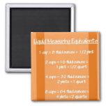 Liquid Measuring Equivalents Orange Magnet