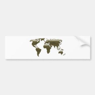 Liquid oil world map car bumper sticker