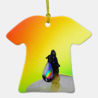 Liquid Photography - Rainbow Drops Double-Sided T-Shirt Ceramic Christmas Ornament