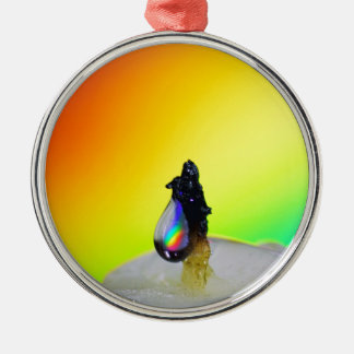 Liquid Photography - Rainbow Drops Round Metal Christmas Ornament