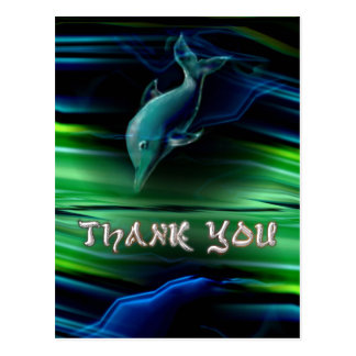 Liquid Vabrations Dolphin Neon Thank You Postcard