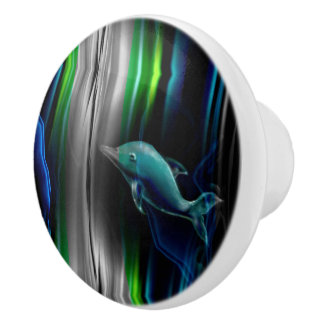 Liquid Vibrations Dolphin Neon Ceramic Knob