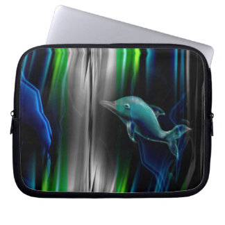 Liquid Vibrations Dolphin Neon Laptop Sleeve