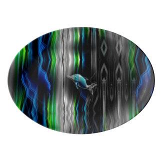 Liquid Vibrations Dolphin Neon Porcelain Serving Platter