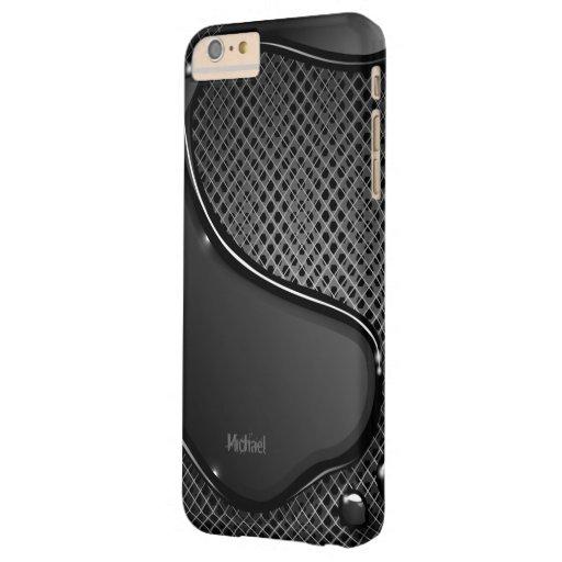 Líquido futurista del negro del extracto del metal funda de iPhone 6 plus barely there