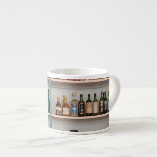 Liquor bottles espresso cup