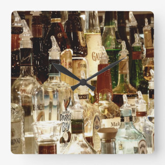 Liquor Bottles Square Wall Clock