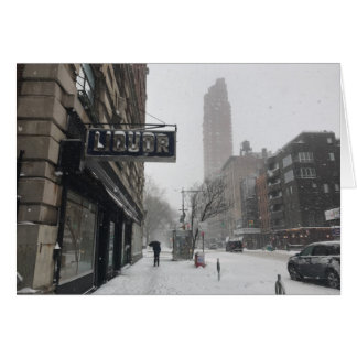 Liquor Store NYC Columbus Avenue New York Blizzard Card
