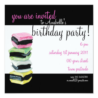 Liquorice Allsorts Birthday Party Invitation