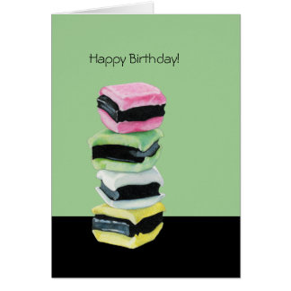 Liquorice Allsorts green Birthday Card