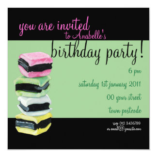 Liquorice Allsorts green Birthday Party Invitation